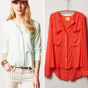 Anthropologie Maeve Clara Button Down Blouse